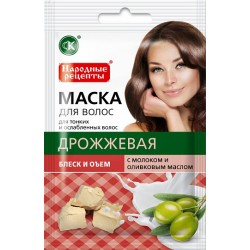 Народные рецепты Натуральная маска для волос Дрожжевая Блеск и объем 30мл