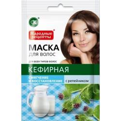 Народные рецепты Натуральная маска для волос Кефирная Смягчение и восстановление 30мл