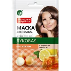 Народные рецепты Натуральная маска для волос Луковая Рост и объем 30мл