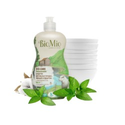 BioMio Средство для мытья посуды, овощей и фруктов с маслом мяты 450мл