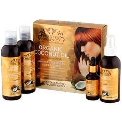 Planeta Organica Набор для волос Яркость и защита цвета волос (Кокос:масло+шам-нь+бал-м+спрей) 4ед