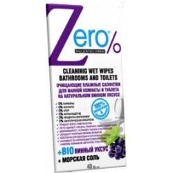 Zero Очищающие влажные салфетки для ванной комнаты и туалета 40шт