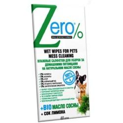 Zero Очищающие влажные салфетки для уборки за домашними питомцами 40шт