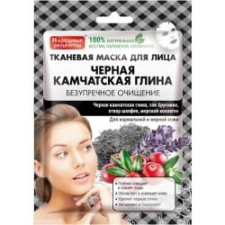 Народные рецепты Тканевая маска д/лица Черная Камчатская глина Безупречное очищение 25мл